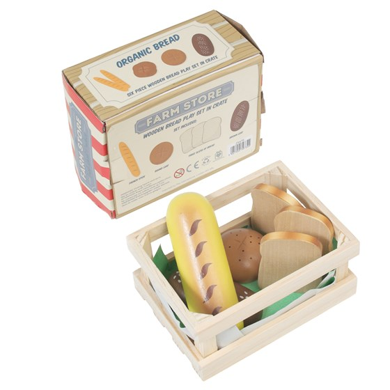 WOODEN 6 PIECE BREAD IN CRATE