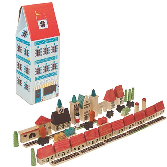 WOODEN VILLAGE PLAY SET 45 PIECES