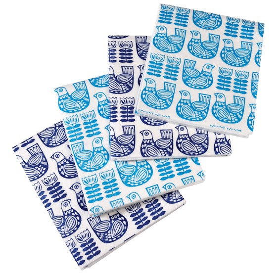 PACK OF 4 FOLK BIRDS KITCHEN CLOTHS