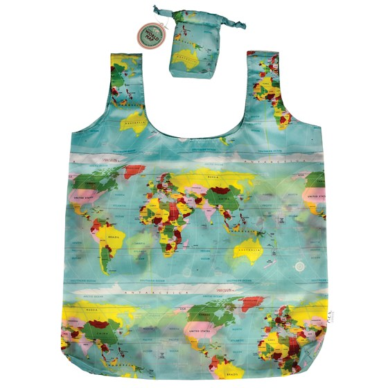 WORLD MAP FOLDAWAY SHOPPING BAG