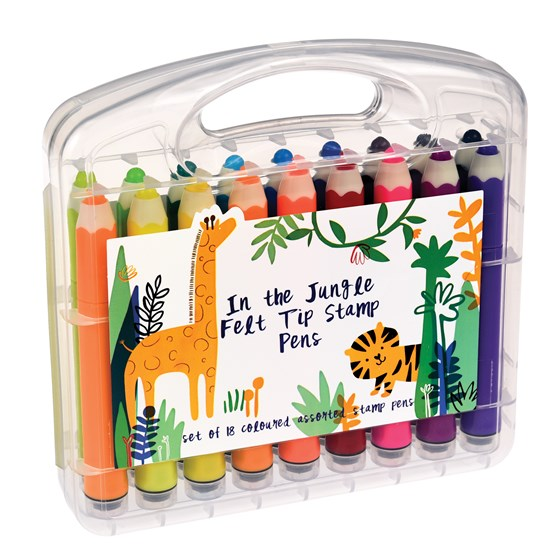 IN THE JUNGLE FELT PENS AND STAMPS (SET OF 18)