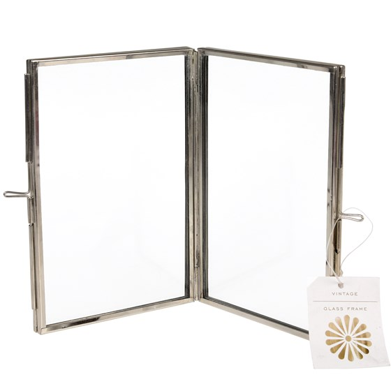 brass 4 sided photo frame in silver