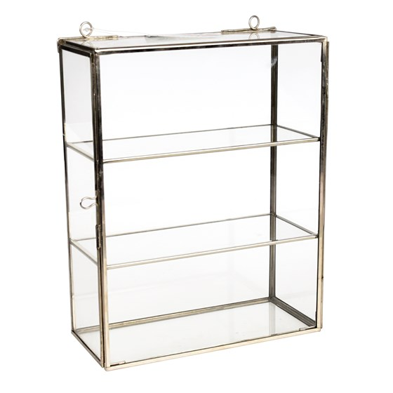 brass display cabinet in silver