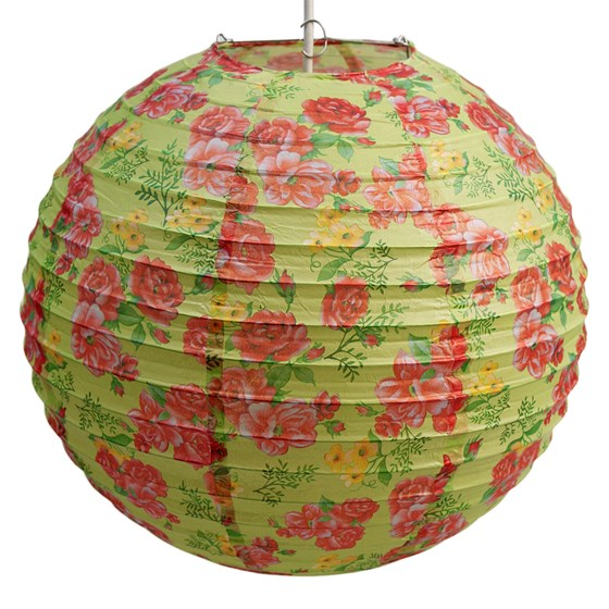 LIME GREEN ROSE PAPER LAMPSHADE