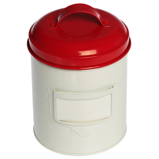 SMALL RED ENAMEL CANNISTER