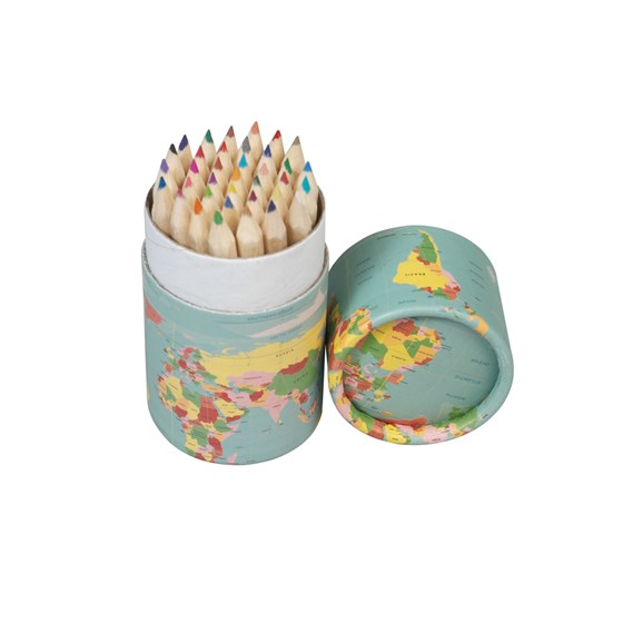 SET OF 36 WORLD MAP COLOURING PENCILS