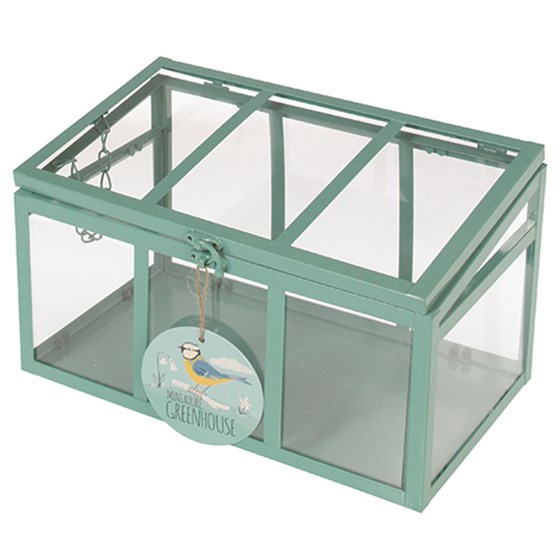MINT GREEN MINI COLD FRAME WITH 3 PANELS