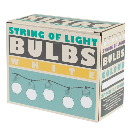 STRING OF 10 WHITE LED BATTERY BULB LIGHTS
