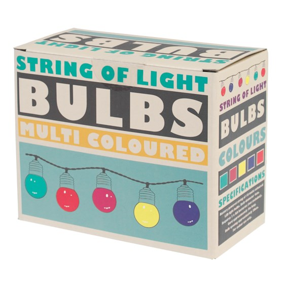 STRING OF 10 MULTICOLOURED LED BATTERY BULB LIGHTS