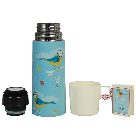 BLUE TIT DESIGN FLASK AND CUP