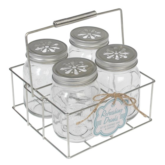 SET 4 DRINKING JARS WITH CARRIER