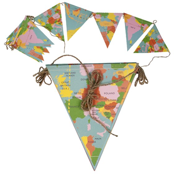 WORLD MAP PAPER BUNTING