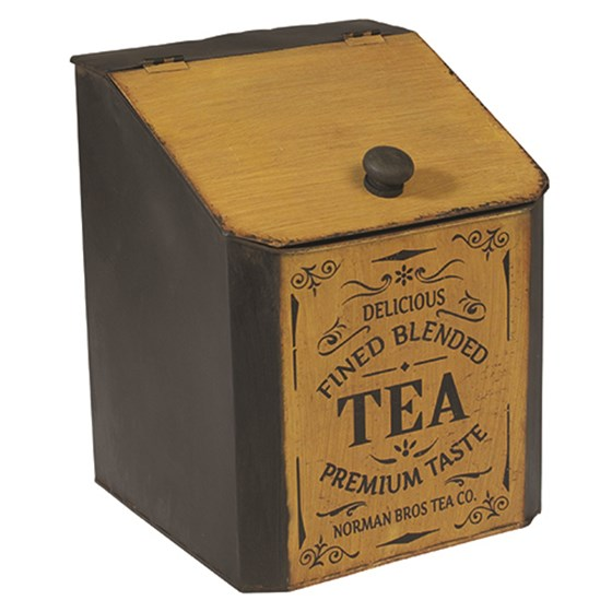 DECORATIVE IRON TEA CADDY