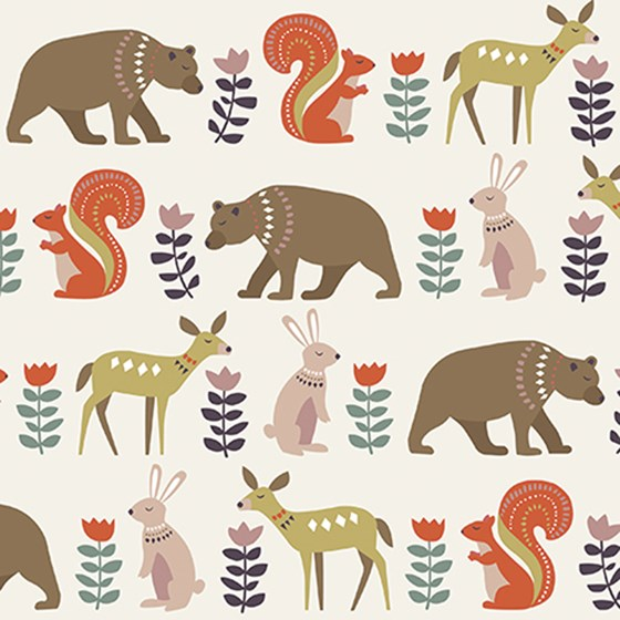 FOLKART ANIMALS WRAPPING PAPER