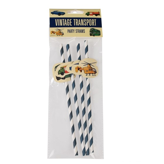PACK OF 4 VINTAGE TRANSPORT PARTY STRAWS