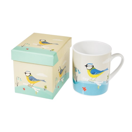 mug in a box blue tit design