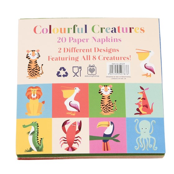 pack of 20 colourful creatures cocktail napkins
