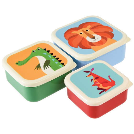 set of 3 colourful creatures snack boxes