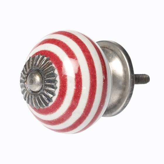 RED STRIPE CERAMIC DRAWER KNOB