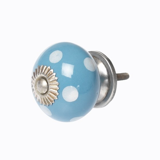 WHITE SPOT BLUE CERAMIC DRAWER KNOB