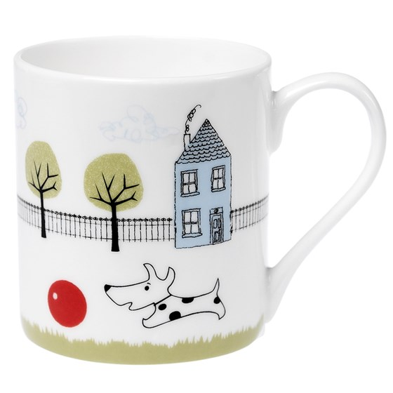 COFFEE MUG DOG + BALL DESIGN