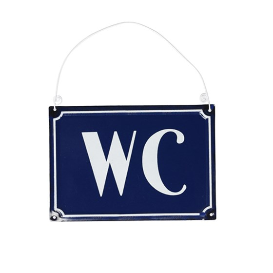FRENCH WC SIGN BLUE METAL
