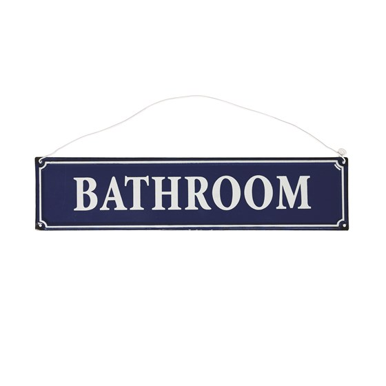 FRENCH BATHROOM SIGN BLUE METAL
