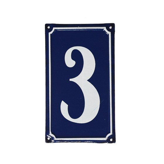 3 FRENCH BLUE METAL DOOR SIGN