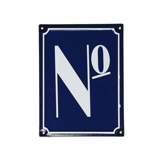 NO FRENCH BLUE METAL DOOR SIGN