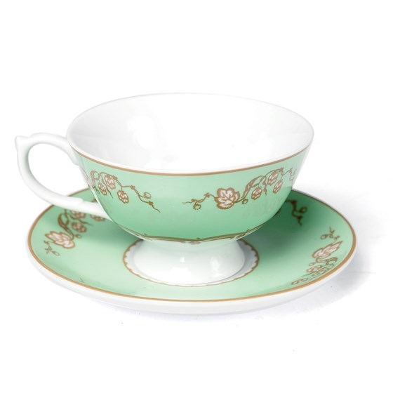 green regency teacup and saucer