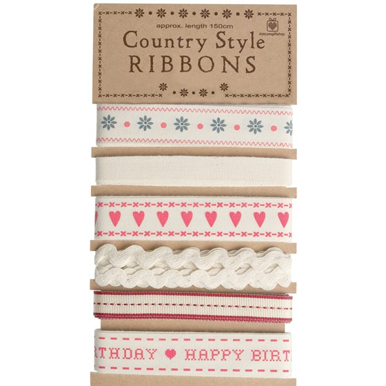 set of 6 ribbons country style