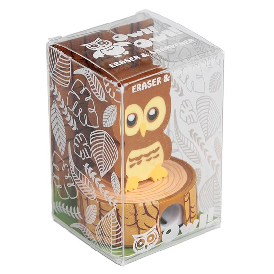 brown owl eraser pencil sharpener
