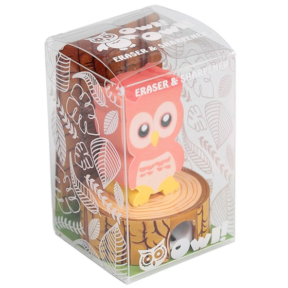 pink owl eraser pencil sharpener