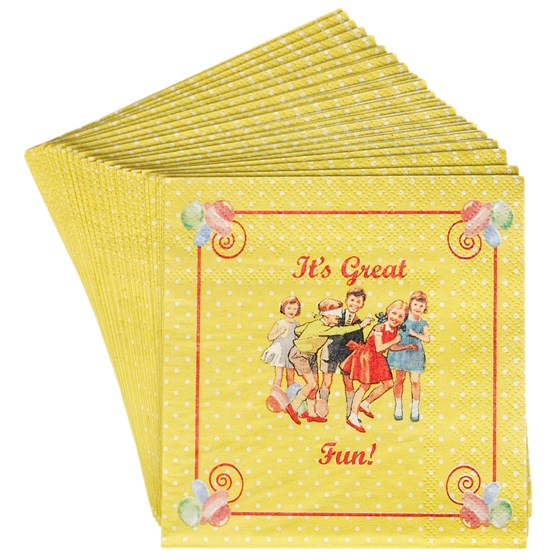 SET 20 VINTAGE TEA PARTY NAPKINS