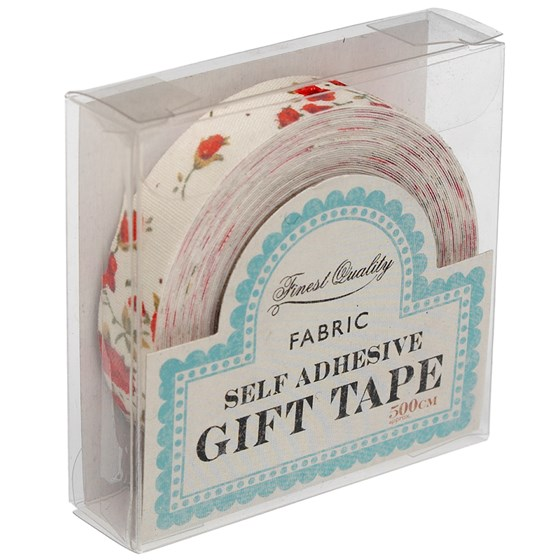 red floral fabric sticky gift tape