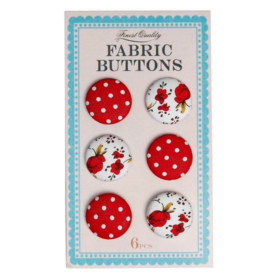 set of 6 red fabric buttons