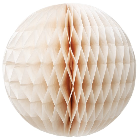 large ivory honeycomb paper ball