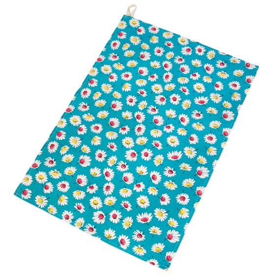 summer daisy tea towel