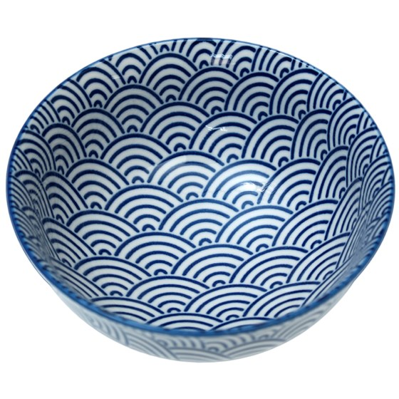 japanese blossom bowl navy waves