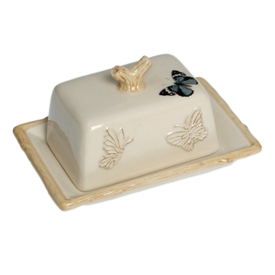 cream botanical butter dish