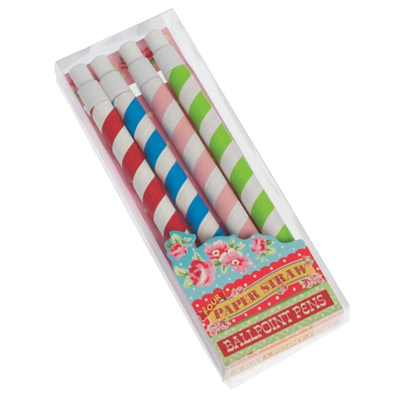 SET OF 4 STRIPY PAPER STRAW PENS