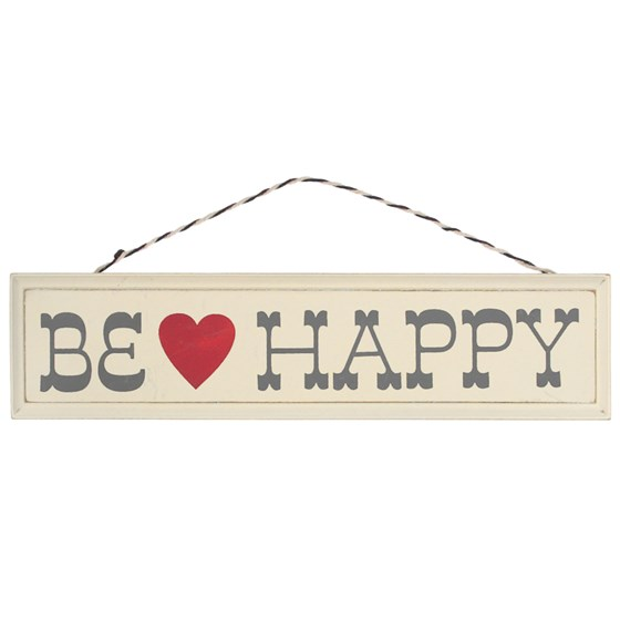 RUSTIC WOODEN BE HAPPY SIGN