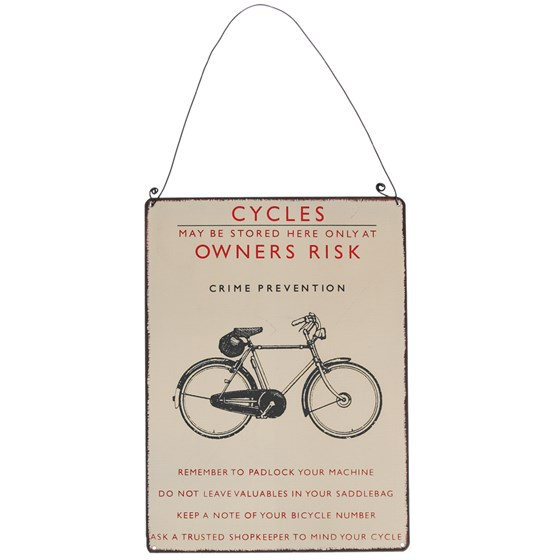 retro bicycle metal sign
