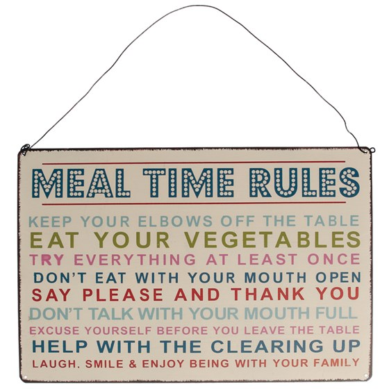 plaque en métal rétro meal time rules