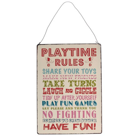 PLAYTIME RULES HANGING METAL SIGN