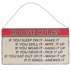 "vintage-metallschild ""house rules"""