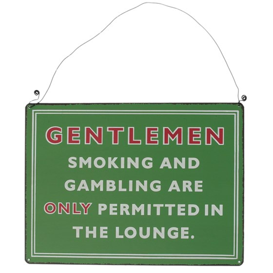 plaque en métal rétro gentleman's smoking lounge