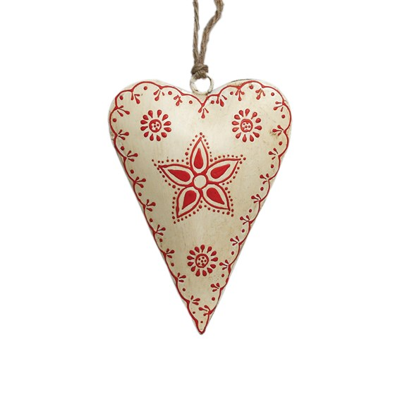 small cream rustic flower heart