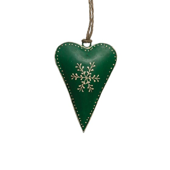 small green rustic snowflake heart