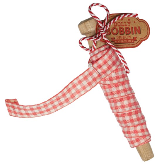 DOLLY BOBBIN RIBBON PINK GINGHAM